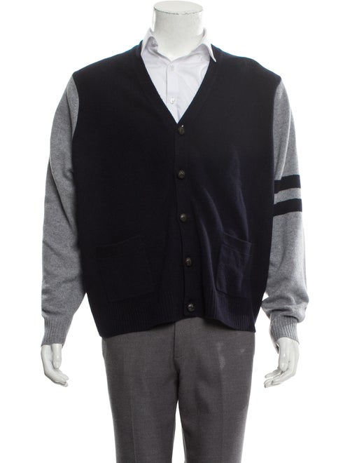 Cremieux Wool Suede-Trimmed Cardigan w/ Tags navy - image 1