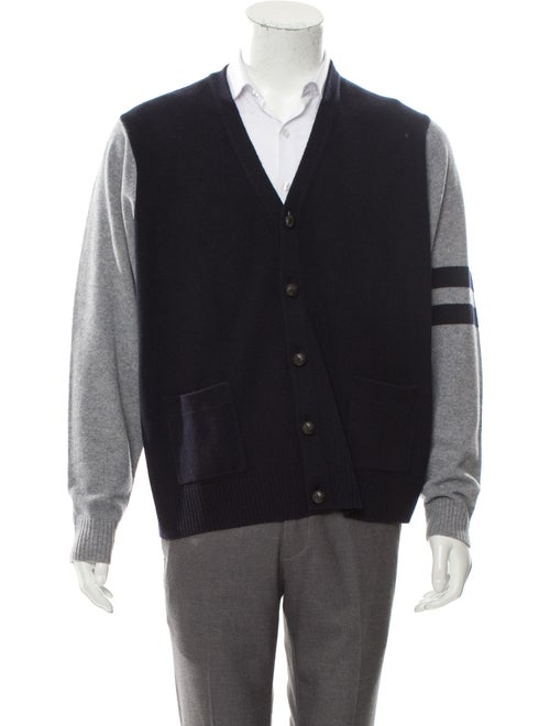 Cremieux Wool Suede-Trimmed Cardigan navy