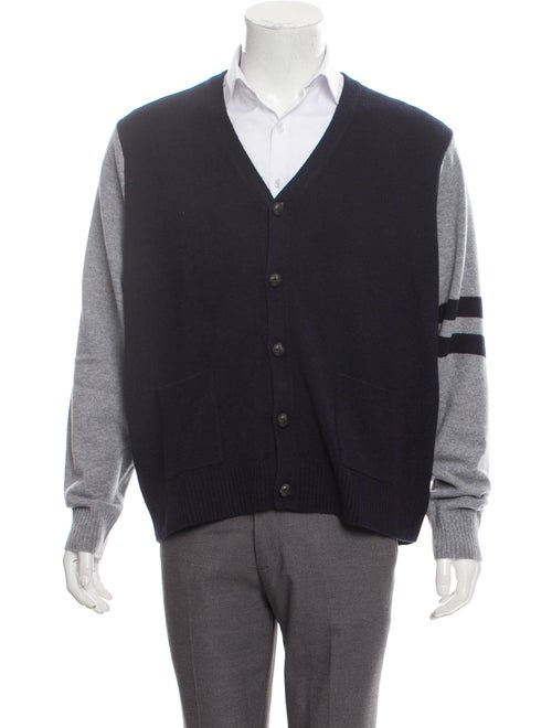 Cremieux Wool Suede-Trimmed Cardigan navy