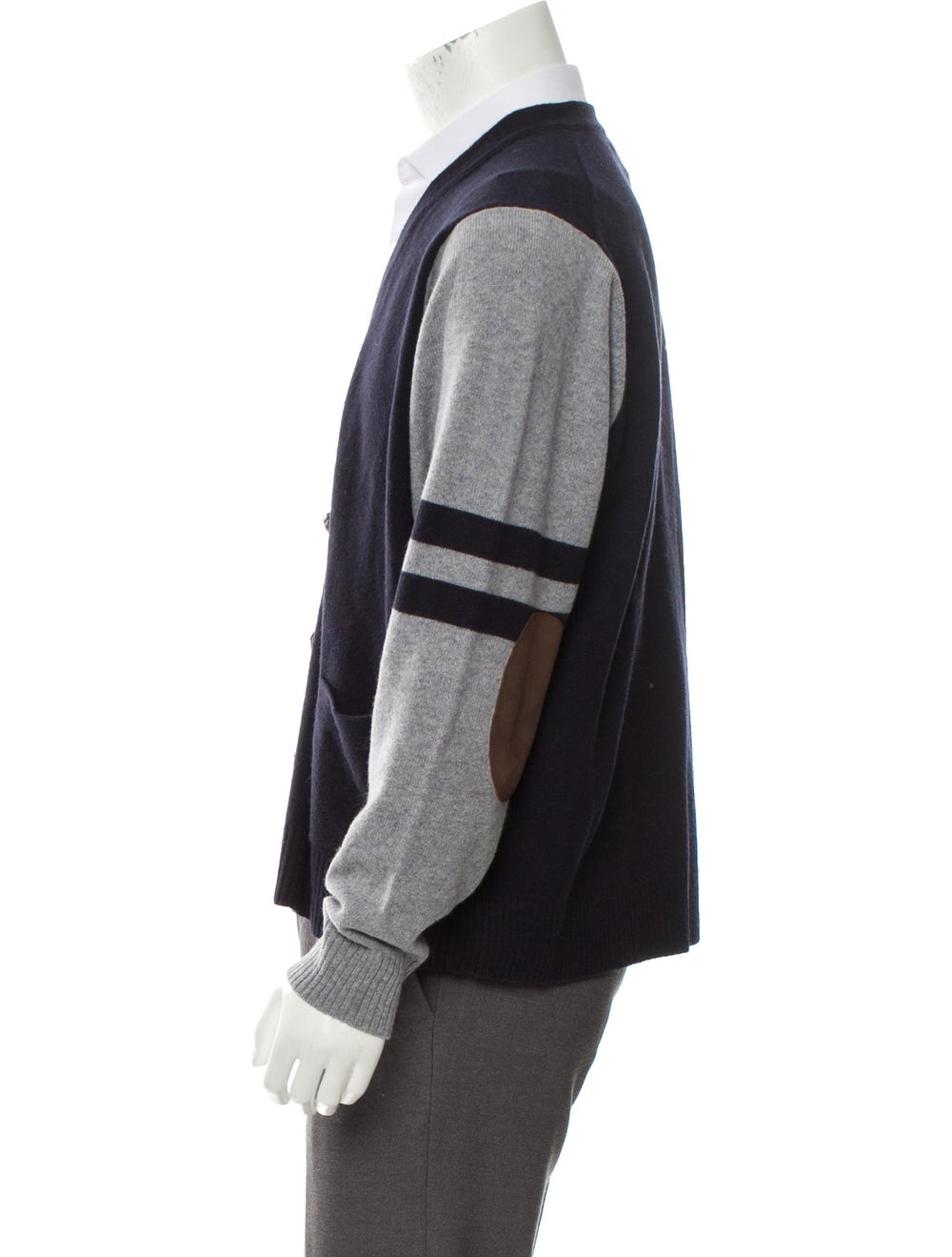 Cremieux Wool Suede-Trimmed Cardigan navy - image 2