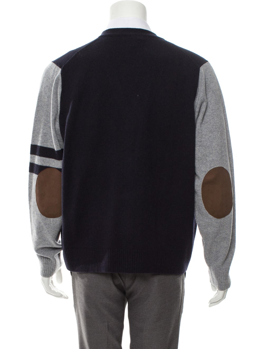 Cremieux Wool Suede-Trimmed Cardigan navy - image 3
