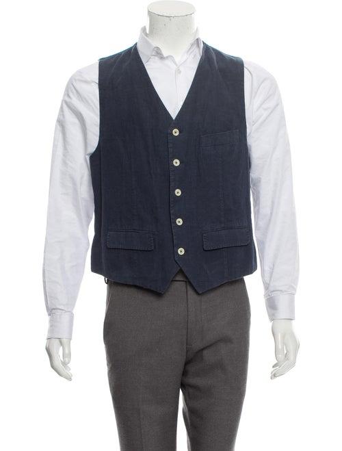 Cremieux Linen Suit Vest blue