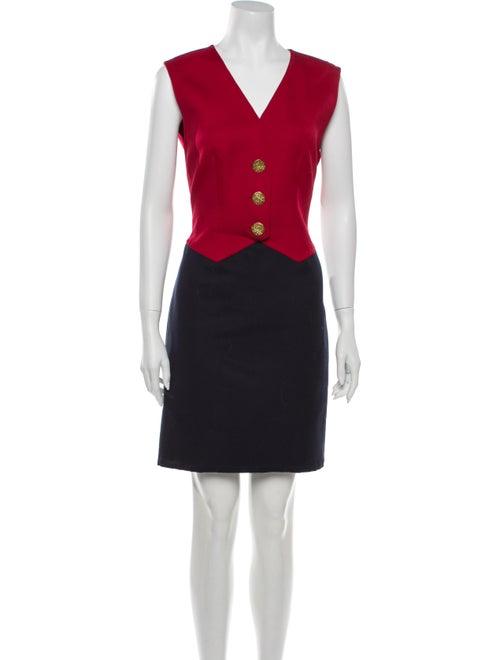 Carolyne Roehm Colorblock Pattern Mini Dress Red