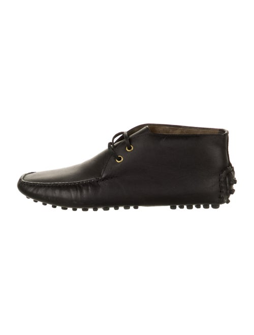 Car Shoe Leather Lace-Up Boots Black