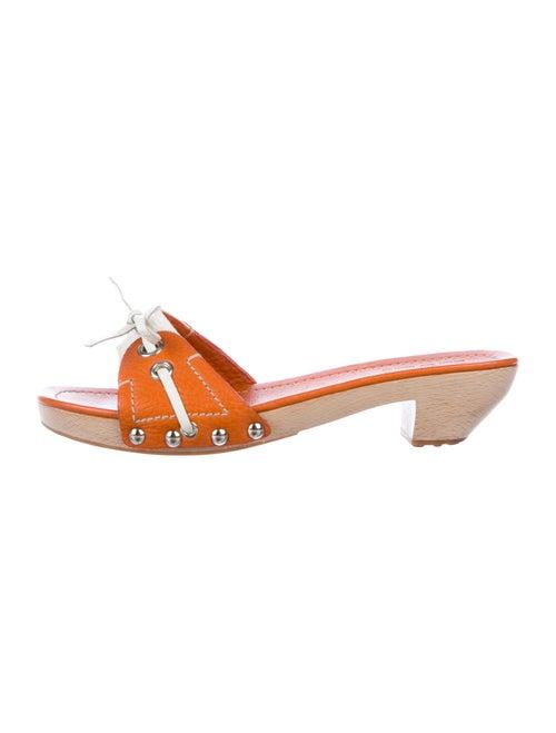 Car Shoe Leather Slides Orange