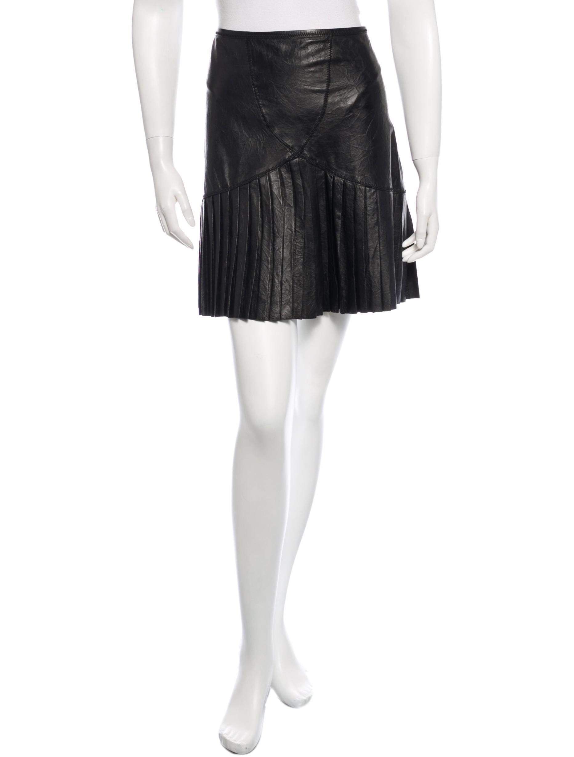 catherine malandrino pleated leather mini skirt clothing