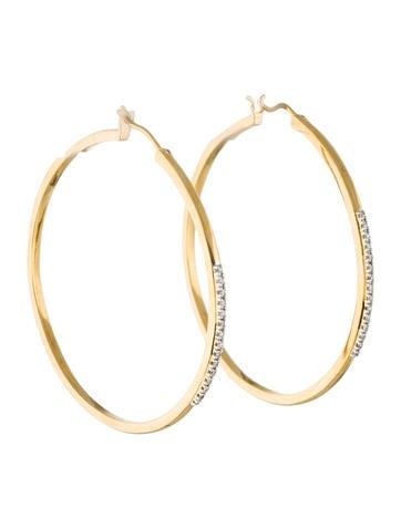 Catherine Malandrino Diamond Hoop Earrings None