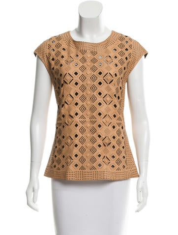 Catherine Malandrino Leather Laser-Cut Top w/ Tags None