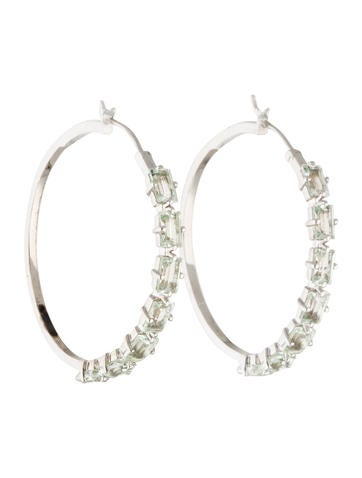 Catherine Malandrino Green Amethyst Hoop Earrings None