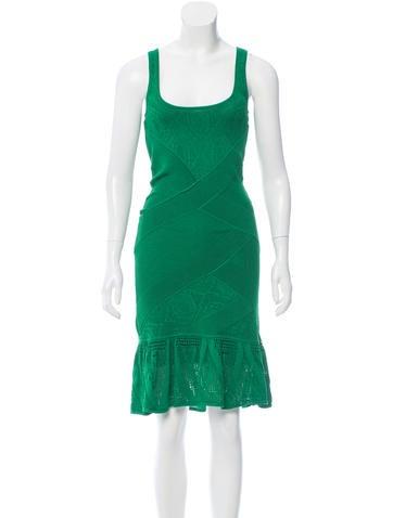 Catherine Malandrino Open Knit Midi Dress None