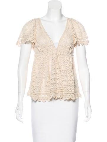 Catherine Malandrino Crochet Short Sleeve Top None