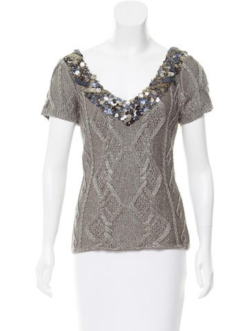 Catherine Malandrino Embellished Knit Top w/ Tags None