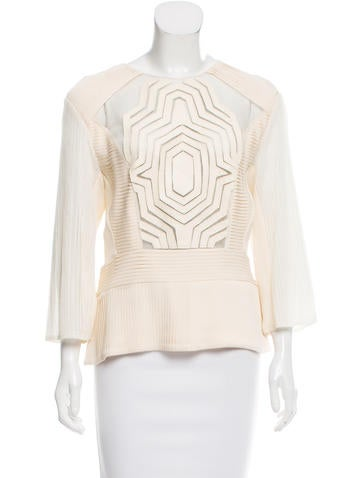 Catherine Malandrino Pleated Mesh-Accented Top None
