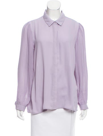 Catherine Malandrino Long Sleeve Button-Up Top None
