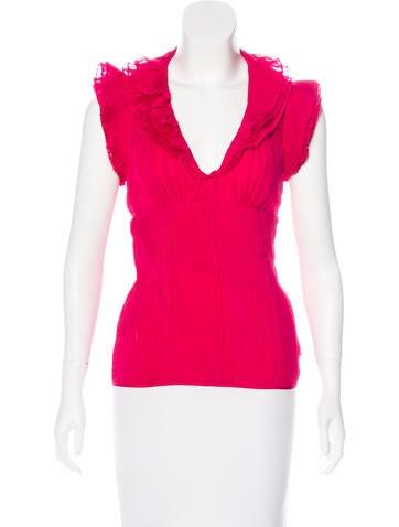 Catherine Malandrino Short Sleeve Silk Top None