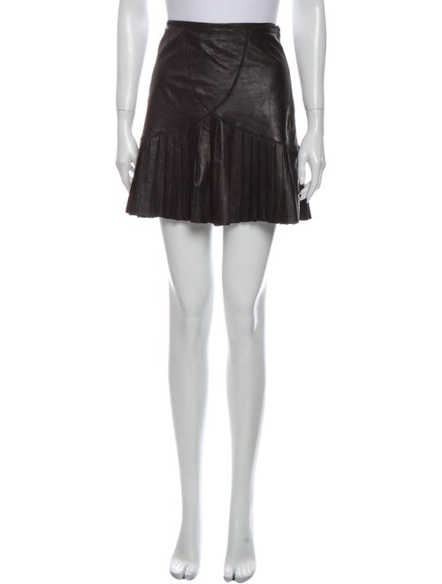 Catherine Malandrino Lamb Leather Mini Skirt Black