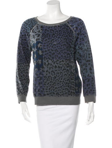 Current/Elliott Leopard Print Pullover Sweater None