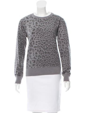 Current/Elliott Leopard Patterned Crew Neck Sweatshirt None