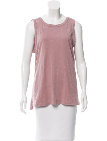 Current/Elliott Distressed Scoop Neck Top