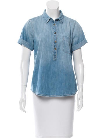Current/Elliott Cuffed Chambray Top None