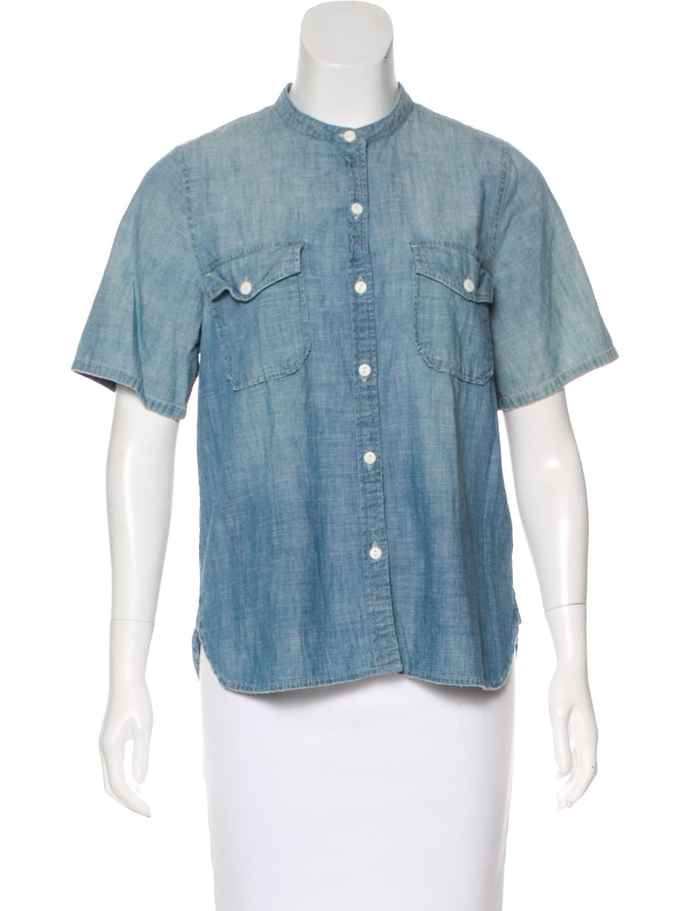 Current elliott the mandarin shirt chambray top clothing for Chambray top