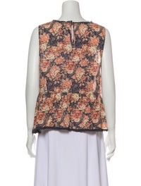 Current/Elliott Floral Print Scoop Neck Top