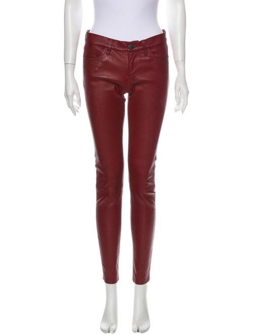 Current/Elliott Lamb Leather Skinny Leg Pants Red