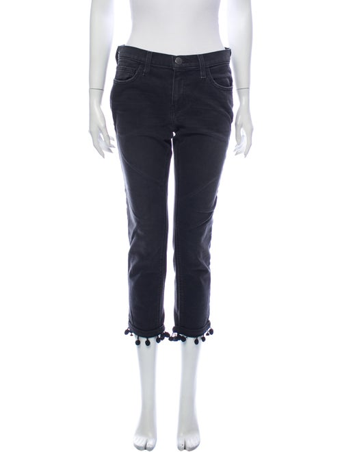 Current/Elliott Mid-Rise Straight Leg Jeans Black