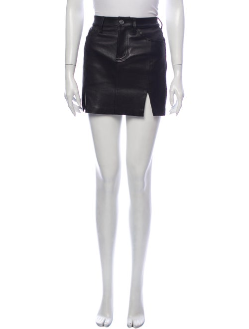 Current/Elliott Lamb Leather Mini Skirt Black