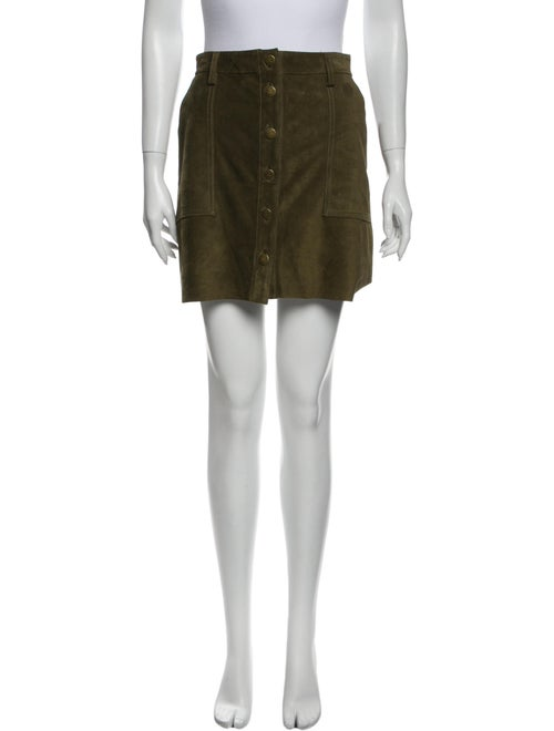 Current/Elliott Leather Mini Skirt Green