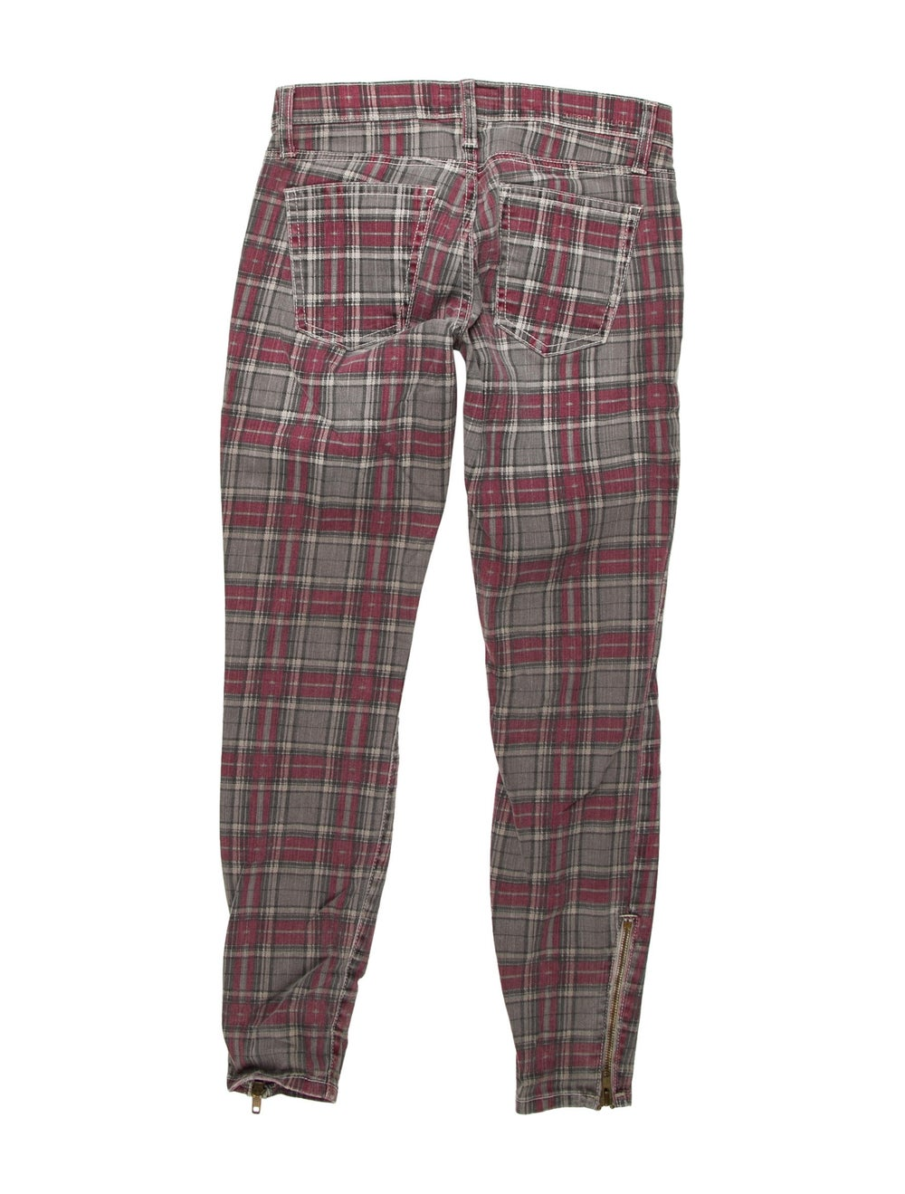 Current/Elliott Plaid Print Skinny Leg Pants Green - image 2