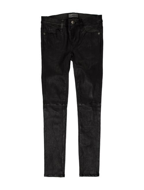 Current/Elliott Leather Skinny Leg Pants Black