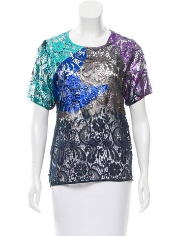 Cynthia Rowley Metallic Crocheted Top None