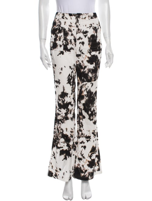 Cynthia Rowley Printed Flared Pants Black