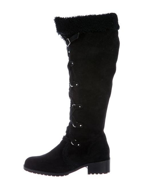 Delman Suede Lace-Up Boots Black