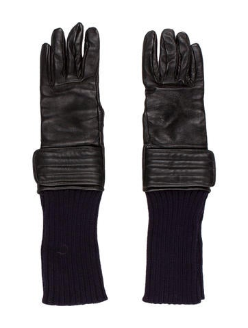 Diesel Black Gold Leather & Knit Gloves None