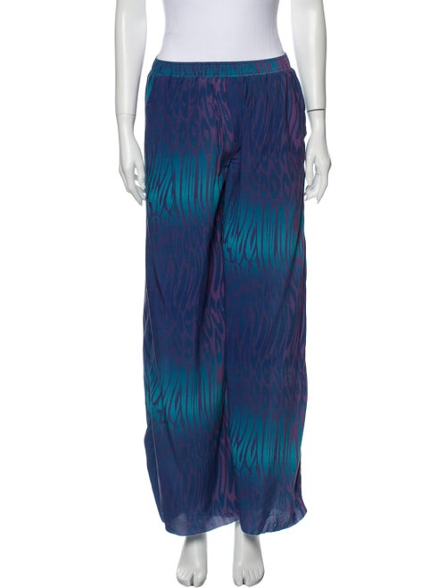 Double Rainbouu Animal Print Wide Leg Pants Blue