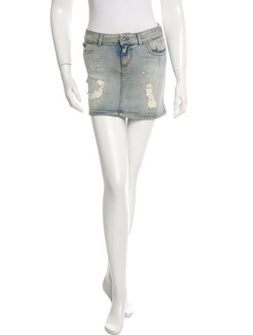 D&G Distressed Mini Skirt