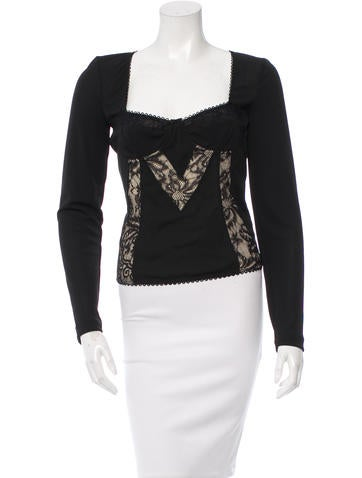 D&G Lace-Accented Long Sleeve Top None