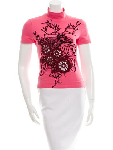 D&G Embroidered Graphic Print Top None