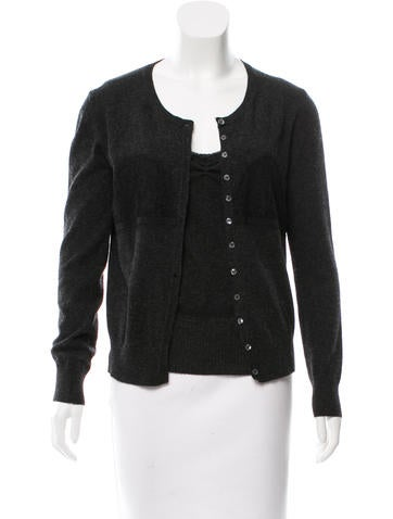 D&G Lace-Accented Rib Knit Cardigan Set None