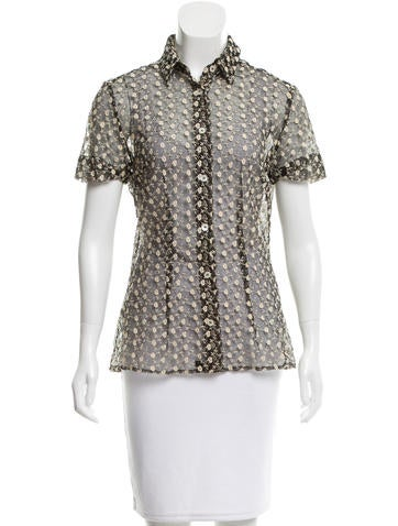 D&G Floral Embroidered Sheer Top None