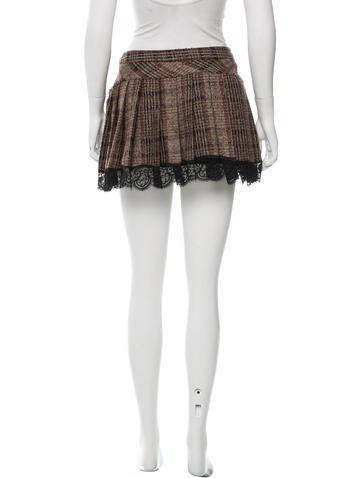 Pleated Tweed Skirt