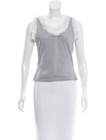 D&G Lace-Accented Sleeveless Top None
