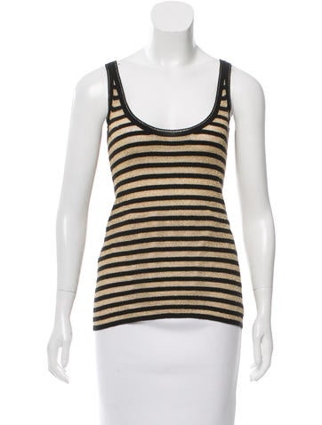 D&G Striped Metallic-Accented Top None