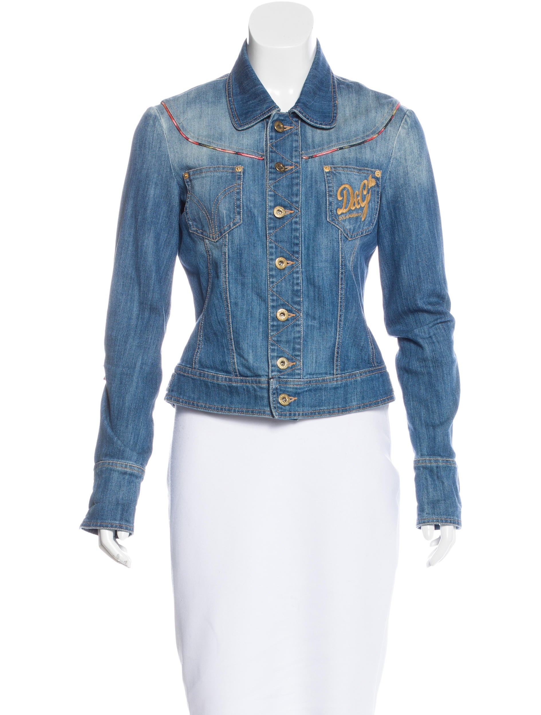 D g embroidered jean jacket clothing wdg the