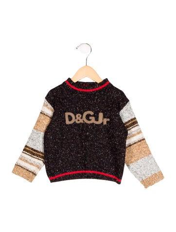D&G Boys' Logo-Patterned Rib Knit Sweater None