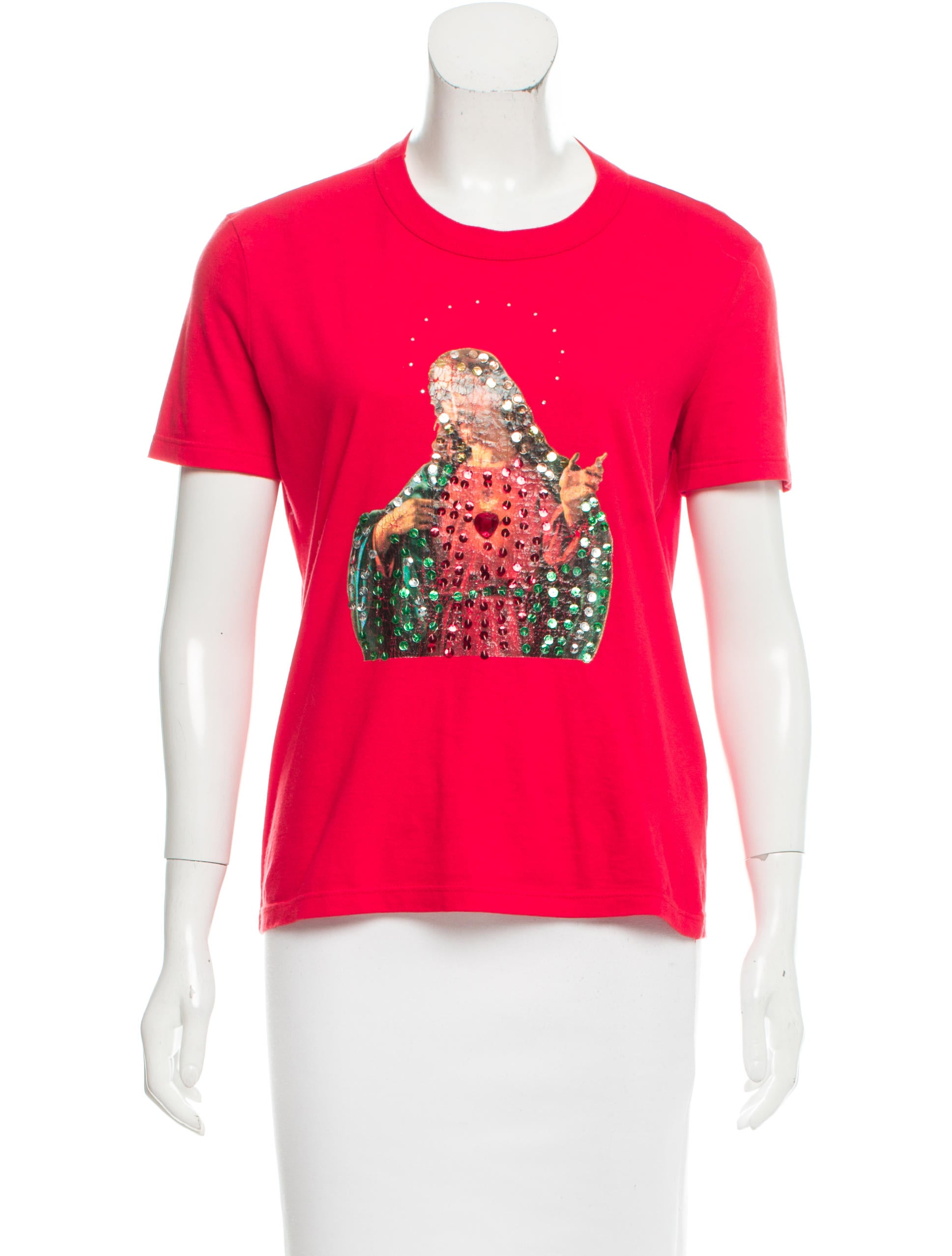 D G Embellished Screen Print T Shirt Clothing Wdg36305