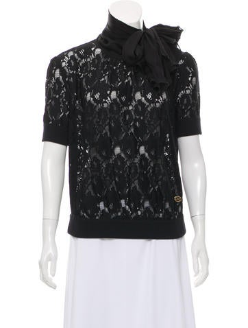 D&G Sash-Tie-Accented Guipure Lace Top None