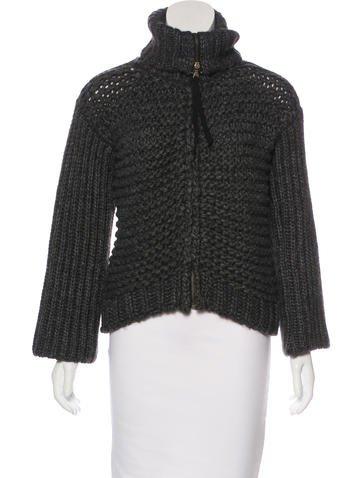 D&G Turtleneck Wool-Blend Cardigan None